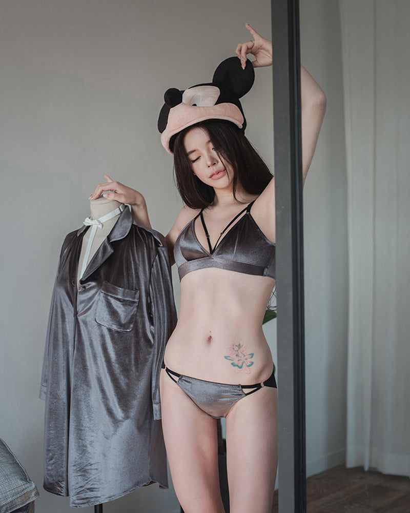 GREY VELVET BASIC BRALETTE SET - Bada Korea