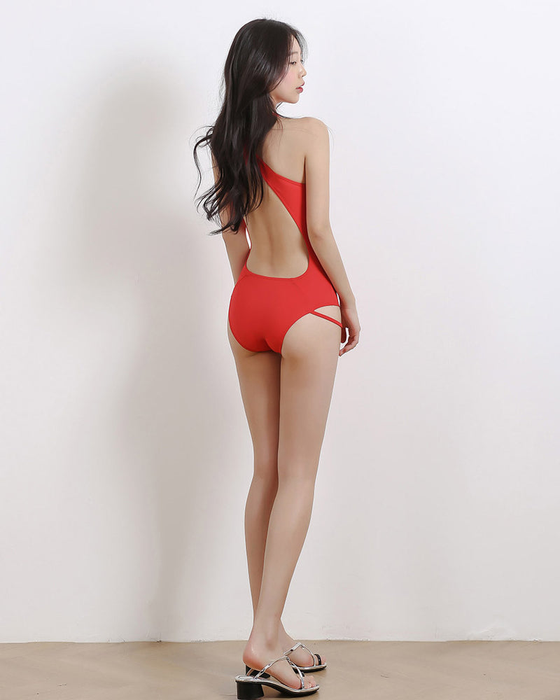 HALTER NECK MONOKINI RED - Bada Korea