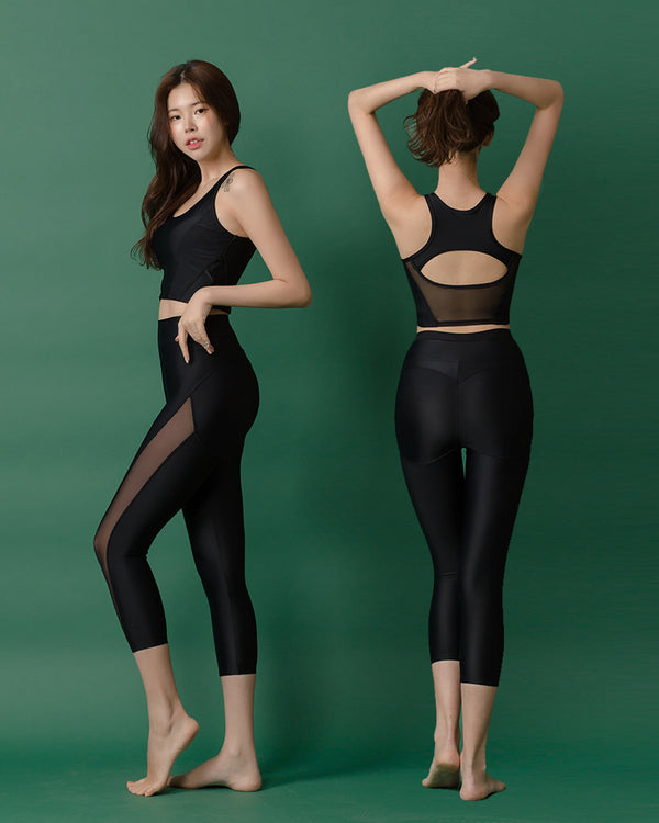 APPLE HIP LEGGINGS SET BLACK - Bada Korea
