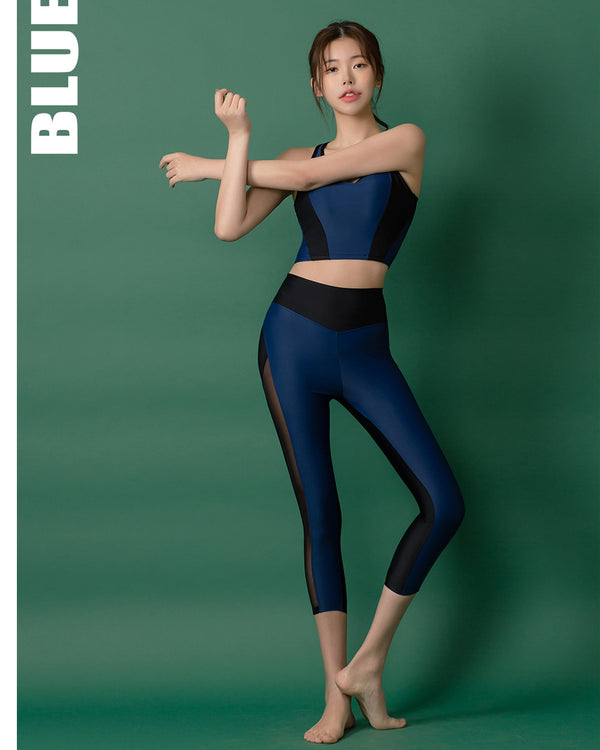 APPLE HIP LEGGINGS SET NAVY - Bada Korea