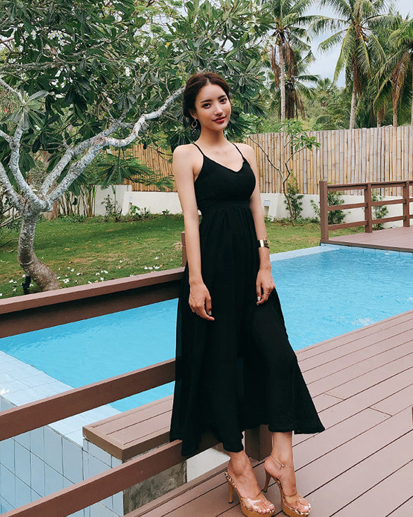 BEAUTIFUL BLACK CHIFFON DRESS - Bada Korea