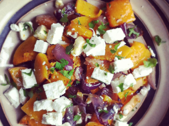 Warm Butternut Squash, Red Onion and Feta Salad