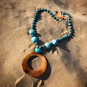 Turquoise & Olive Wood Necklace