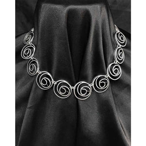 Handcrafted Silver Necklace with Circular Design