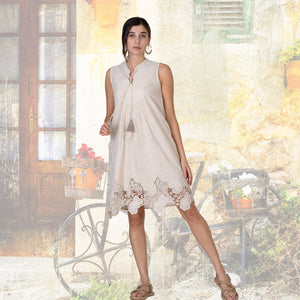 Pure Cotton Knee Length Dress with Cut out Lace Effect Hem and Pompom ties