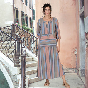 Blue and Brown Striped Pure Cotton Boho Ankle length Dress with Front Pocket  and Three Quater sleeves