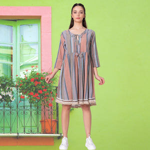 Striped Pure Cotton Boho knee length Dress with Fringed Hem and Three Quater sleeves