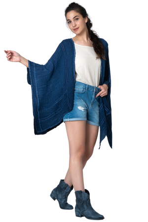 Organic Cotton Short Kaftan - Free flowing - Asimetric - Breathable and Chique - Cotton Jacket