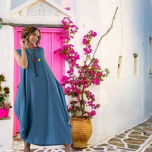 Indigo Colored Pure Cotton Boho Ankle length Dress with Pockets