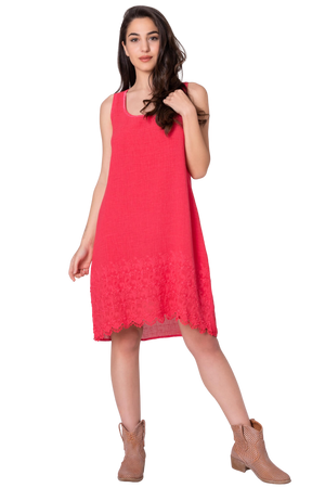 Pure Cotton Knee length Dress with Cut out Lace Effect Hem