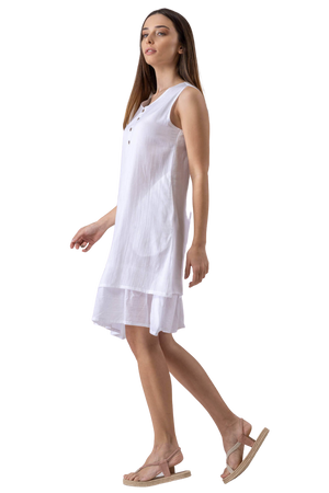 Pure Cotton Knee length Dress with Button Fastening Detail
