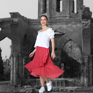 Pure Cotton Wraparound Skirt with Ruffle Hem