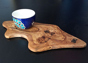 Handcrafted Iznik Porcelain Cup with Olive Wood Stand