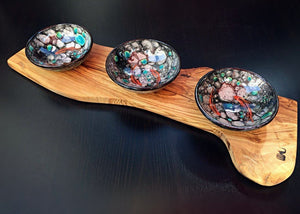Handcrafted Iznik Porcelain Dish Set with Olive Wood Stand