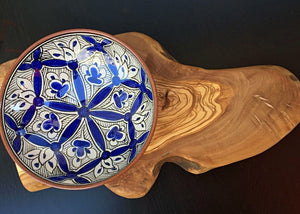 Handcrafted Iznik Porcelain Service Bowl with Olive Wood Stand