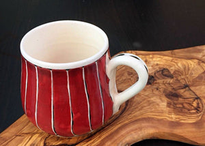 Handcrafted Iznik Porcelain Mug with Olive Wood Stand