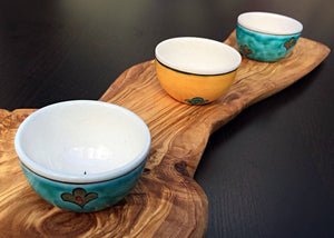 Handcrafted Iznik Porcelain Dip Dish Set with Olive Wood Stand