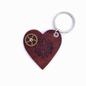 Leather Steampunk Heart Key Ring