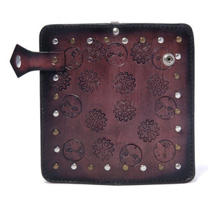Men's Steampunk Leather Wallet Teak