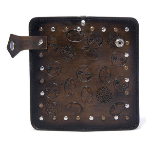 Men's Steampunk Leather Wallet Mahoghany
