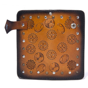 Men's Steampunk Leather Wallet Chestnut