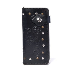 Men's Steampunk Leather Wallet Black