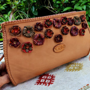 Camel Colored Handcrafted Leather Shoulder Bag - Ladies Purse with flowers - Adjustable Shoulder Strap