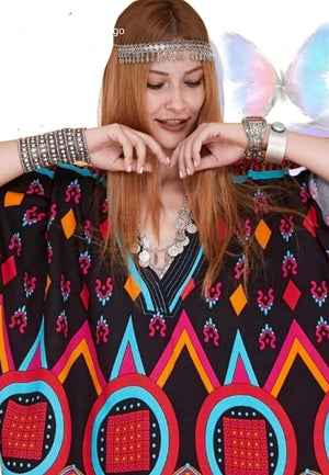 Cotton Kaftan with Colorful Ethnic Design