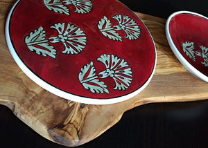Handcrafted Iznik Porcelain Meze Dish Set with Olive Wood Stand