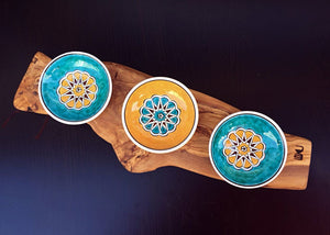 Handcrafted Iznik Porcelain Dish Service Set with Olive Wood Stand