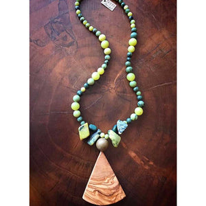 Peridot & Olive Wood Necklace