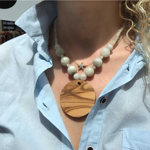Moonstone & Olive Wood Necklace