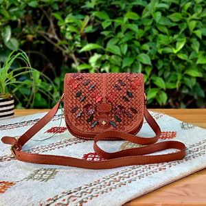 Tan Colored Leather Shoulder Bag - Ladies Purse with Butterfly Motif - Adjustable long strap