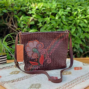 Dark Brown Handcrafted Leather Shoulder  - Womens Purse with Flower Motif