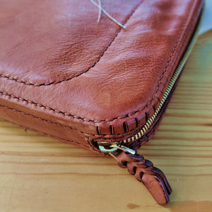 Tan Colored Handcrafted Leather Laptop Case - Small Leather Briefcase