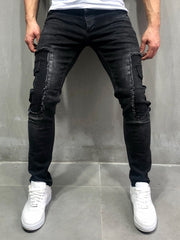 Black Distressed Cargo Pockets Skinny Jeans 4056 - LeeFed