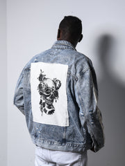 Skull Patched Denim Jacket 4687