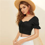 Black Ruffle Sleeves Crop Bow Top - Myleefed