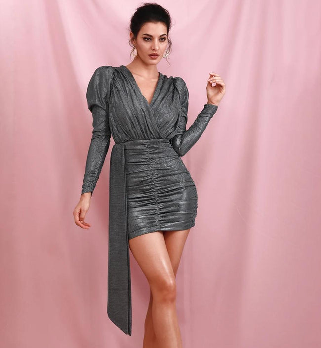 Grey Deep V Neck Bodycon Dress - LeeFed
