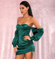 Green Off Shoulder Loose Sleeves Dress - LeeFed