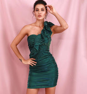 Green One Shoulder Ruffled Dress - LeeFed
