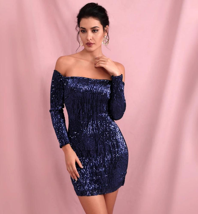 Navy Blue Off Shoulder Sequin Bodycon Dress - Myleefed