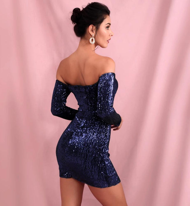 Navy Blue Off Shoulder Sequin Bodycon Dress - LeeFed