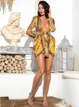 Gold Deep V Vintage Print Chiffon Dress - LeeFed