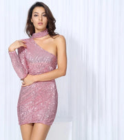 Pink Turtleneck Sequin Bodycon Dress - LeeFed