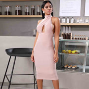 Pink Hollow Out Halter Bandage Dress - LeeFed