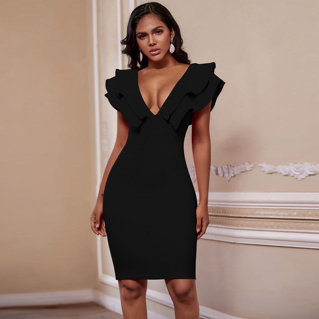 Deep V Neck Ruffles Bandage Dress - LeeFed
