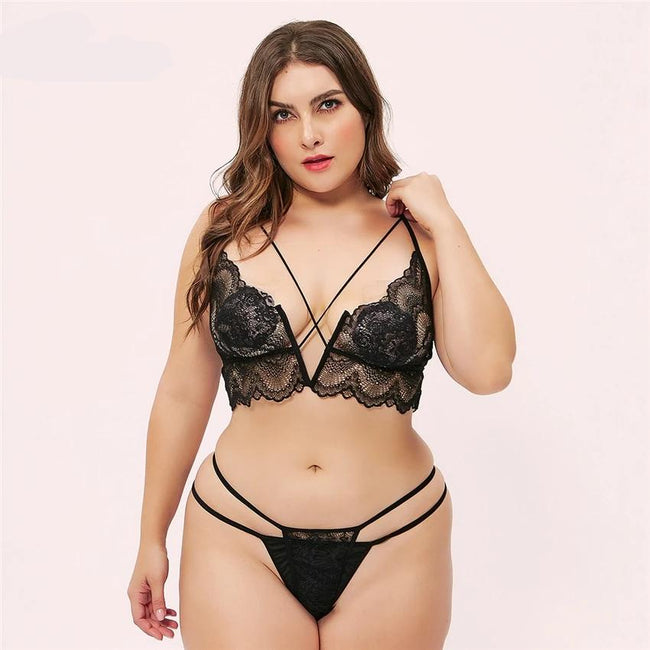 Black Lace Cross Bra & Thong Set - Myleefed