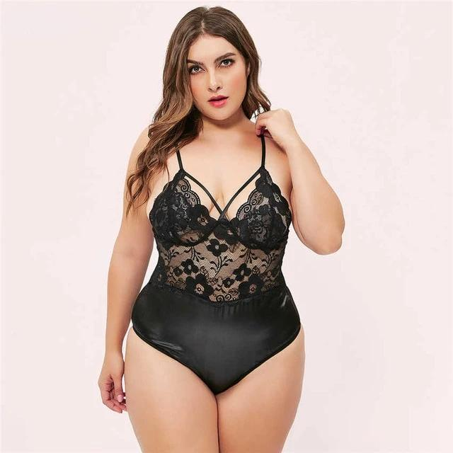 Black V Neck Lace Bodysuit - LeeFed