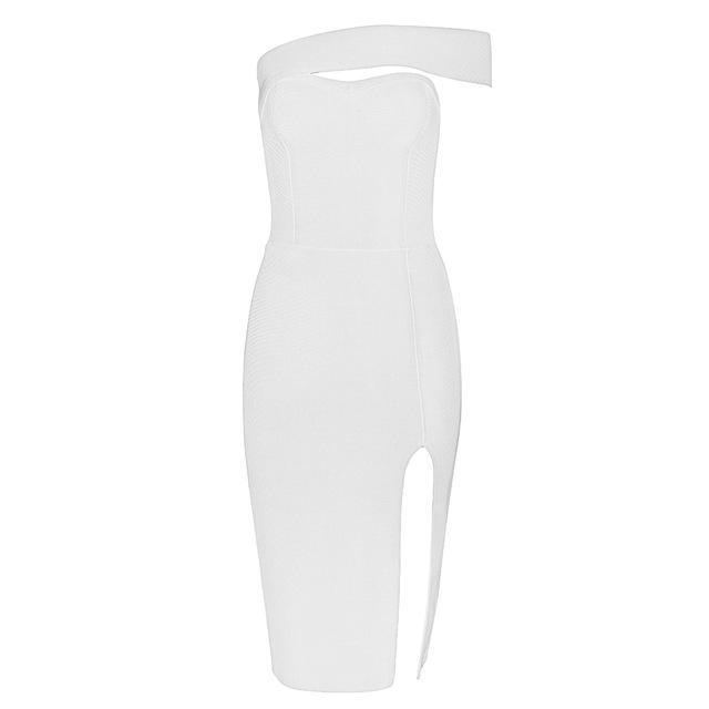 One Shoulder Split Bandage Dress - LeeFed